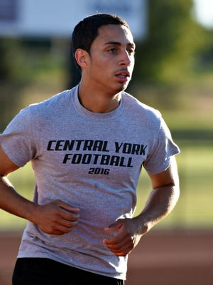 Central York defensive back Jordan Bowie runs during football practice at the school in Springettsbury Township on Monday. Dawn J. Sagert photo