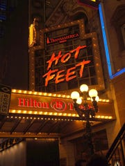 The Marquee of the Hilton Theater is seen at the Broadway