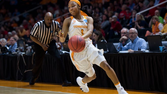 Tennessee's Anastasia Hayes (1) attempts to keep the ball in bounds during the women's NCAA Tournament first round game between Tennessee and Liberty at Thompson-Boling Arena Friday, March 16, 2018. Tennessee defeated Liberty 100-60.