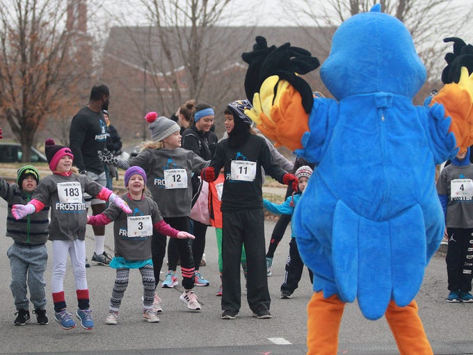 Kids stretch prior to  Frostbite run at the Sumner