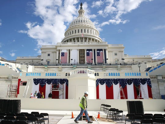 WASHINGTON, DC - JANUARY 13: Work is still being performed on the stage ahead of next week inauguration at the U.S. Capitol, on January 13, 2017 in Washington, DC. On January 20, 2017 President elect Donald Trump with be sworn in as the nations 45th president.