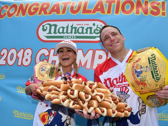 "On July 4, 2018, In Coney Island, Brooklyn, the annual Nathan's Hot Dog eating contest yielded two winners: defending champions Joey ""Jaws"" Chestnut and Miki Sudo."