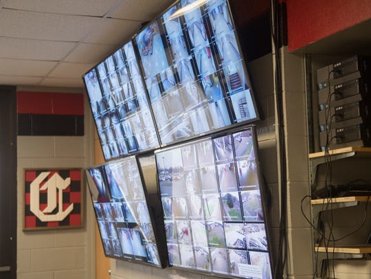 Security cameras on screen in Central High principal