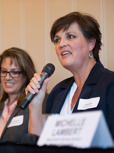 """Enoch City Councilwoman Jolene Lee tells her story of getting involved in local politics at the """"Even It Up"""" event at the Southern Utah University Alumni House in Cedar City on Thursday, Sept. 27, 2018."""