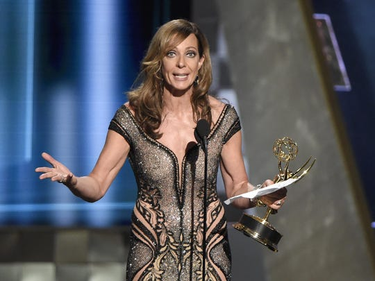 "Allison Janney accepts the award for outstanding supporting actress in a comedy series for ""Mom"" at the 67th Primetime Emmy Awards on Sunday at the Microsoft Theater in Los Angeles."