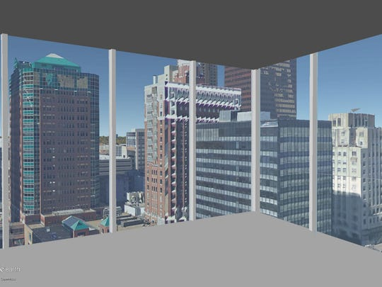 This is a rendering of the view on the 13th floor of The Fifth looking out the northwest corner.