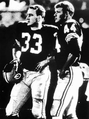Packers rookie running backs Jim Grabowski (left) and Donny Anderson had large shoes to fill after being drafted.