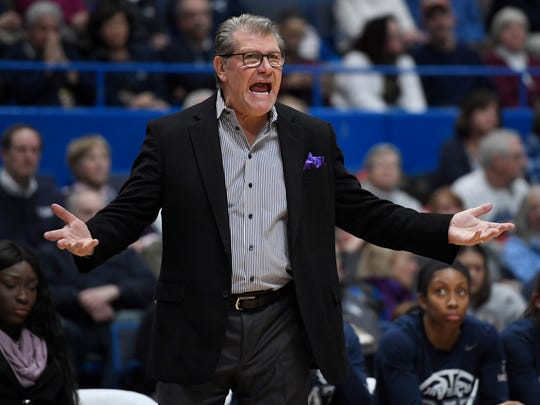 Connecticut head coach Geno Auriemma reacts toward an official during the second half of an NCAA college basketball game against UCF on Sunday, Jan. 27, 2019, in Hartford, Conn.