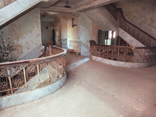 The second floor stairway area of the old Nueces County Courthouse as it looked in November 1999. The courthouse, built in 1914 and abandoned by the Commissioners Court more than 20 years ago, has been designated a Texas Historic Landmark.