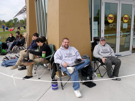 The first in line are friends Kieth Showalter, right and Tim Macintosh both of Waynesboro. The arrived around 7:00pm Wednesday. Moe's Southwest Grill in Waynesboro holds it's grand opening contest that gives the first 100 people in line free burritos for a year on Thursday, April 21, 2016.