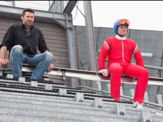 Bronson (Hugh Jackman) and Eddie (Taron Egerton) hope for the best, while expecting the worst, in advance of Eddie's next practice jump.