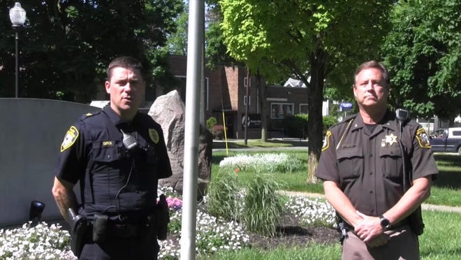 Adrian Police Chief Vince Emrick, left, and Lenawee County Sheriff Troy Bevier are pictured in a screenshot taken from a video in which they condemn the death of George Floyd at the hands of Minneapolis police officers.
