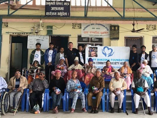 Children who were abandoned and raised on the streets of Nepal, now senior citizens, were given shelter and food in the village of Birtamode.