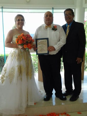 Joey Mesa and Clarise Lowe were wed July 1st at the Pacific Star Hotel Chapel in Tumon. Sen. Joe S. San Agustin was honored to officiate for the happy couple.