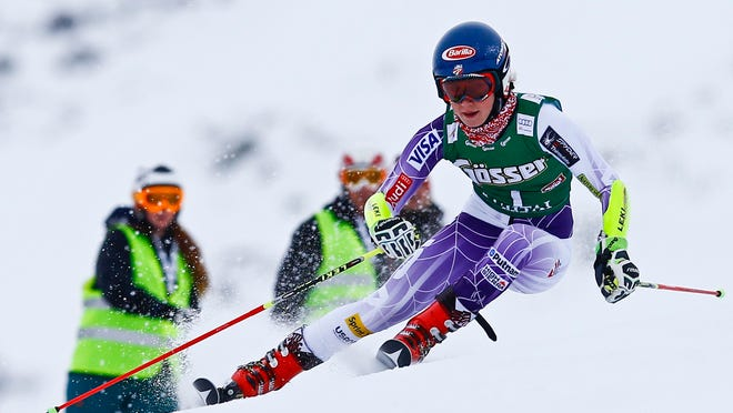 Mikaela Shiffrin from the U.S. clears a gate during the first run of the World Cup Women's Giant Slalom race in Kuehtai ski resort on Sunday.
