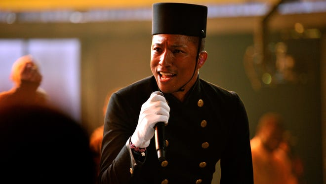 Pharrell Williams performs at the Grammy Awards on Feb. 8 in Angeles.