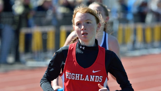 Monica Hebner of Northern Highlands runs anchor in the girls A distance medley at the 57th annual Jack Yockers Bergen County Relays at River Dell High School.
