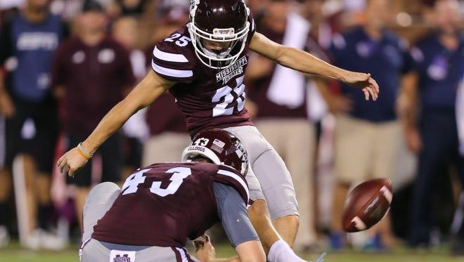 Mississippi State kicker Westin Graves made a 46-yard field goal last week at Alabama.