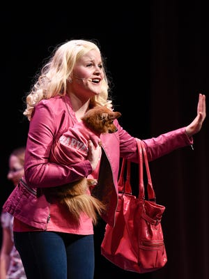 "Elle Woods, played by Lauren Davis, and her dog head to Harvard Law School during ""Legally Blonde"" Thursday, May 5, at the Rocori High School in Cold Spring."