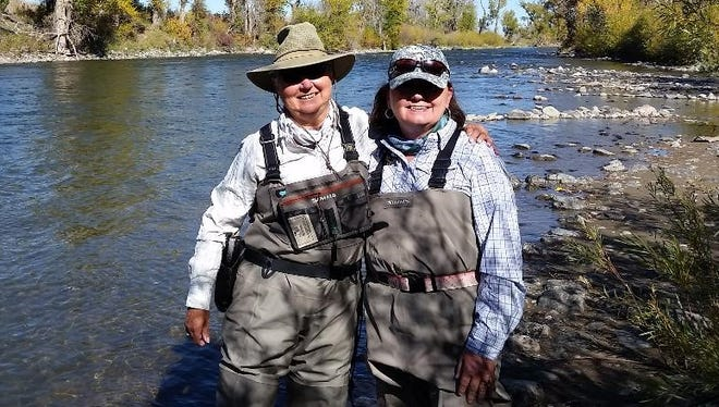 Sara Thorne (left), member of the Arkansas White River Trout Unlimited Chapter 698 and chairwoman of the State Trout Unlimited Women's Initiative, is pictured with Kerri Russell of Fayetteville during the 2016 Trout Unlimited national convention in Bozeman, Mont. Russell started as a member of Arkansas Trout Unlimited Chapter 514 in Fayetteville and is now a member of TU's national board of trustees.