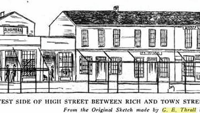 A sketch by George Evans Thrall depicts High Street as it appeared in 1846.