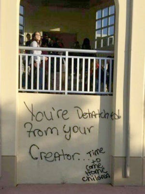 Vandals spray-painted graffiti on a building at Palmetto Ridge High School over Thanksgiving break, school district officials said.