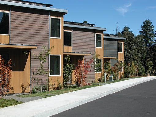 Eco-friendly Mosier Creek Homes sit along the south