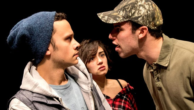 """From left, Trey Santiago, Danielle Nigro and Eric Berger star in the Binghamton University production of """"A Lie of the Mind."""""""