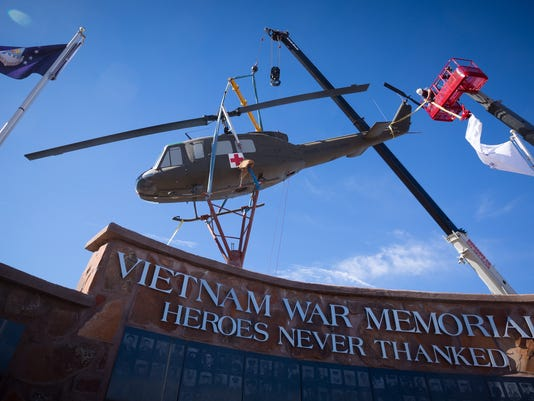 Huey Helicopter Installed at Vietnam Memorial at Veterans Memorial Park 1