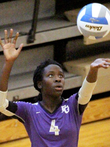 Fowlerville's Jazmine Brake served 11 points, had 26 assists, 16 kills and 16 digs in the Glads' loss Wednesday.