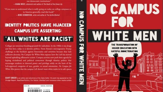 "The ""No Campus for White Men"" book jacket. The foreword is by Milo Yiannopoulos."