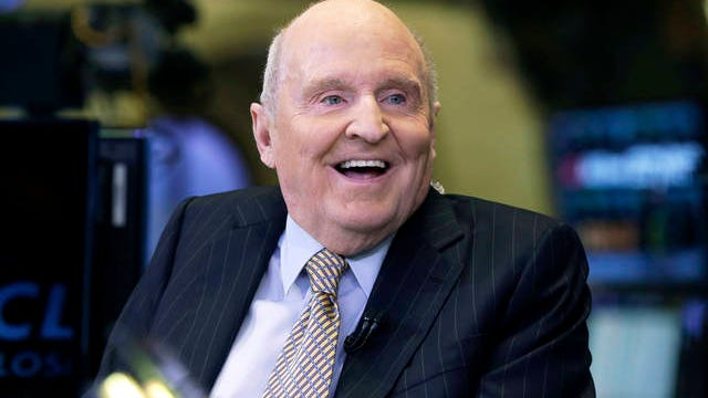 In this Oct. 22, 2013 file photo, former Chairman and CEO of General Electric Jack Welch appears on CNBC on the floor of the New York Stock Exchange. Welch, who transformed General Electric Co. into a highly profitable multinational conglomerate and parlayed his legendary business acumen into a retirement career as a corporate leadership guru, has died at the age of 84.