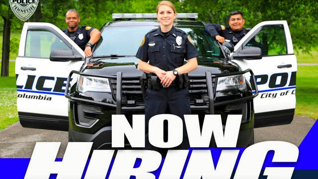 The Columbia Police Department launched a recruitment effort on Friday, Aug. 7. An application period will remain open through Friday, Aug. 21. Seen in this promotional poster is Officer Nick Moss, Investigator Jordan Barber, and Officer Erick Solano.