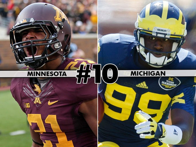 Minnesota (4-1, 0-1) at No. 17 Michigan (4-0, 0-0), 3:30 p.m. ET, ABC/ESPN2: Minnesota was handed its first loss last week and Michigan has looked particularly vulnerable in narrow wins over Akron and UConn. Is this where the Wolverines slip up?