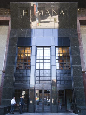 The front entrance to the Humana building in Louisville, Ky., on Sept. 4, 2013.