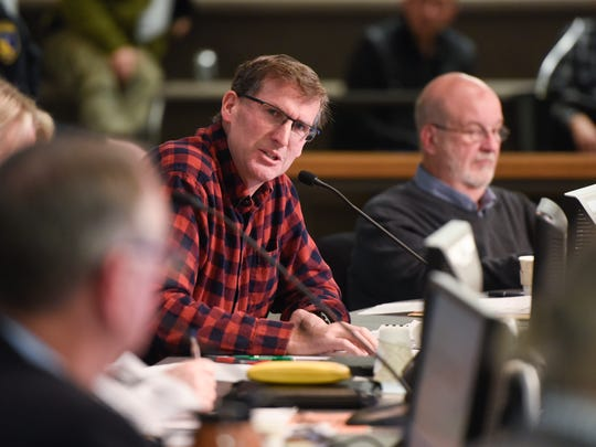 Council member Jeff Johnson speaks Monday, Nov. 6, 2017 during the St. Cloud City Council meeting at City Hall.