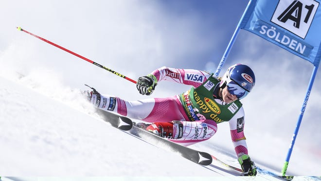 Mikaela Shiffrin of USA in action during the Audi FIS Alpine Ski World Cup Women's Giant Slalom on October 22, 2016, in Soelden, Austria