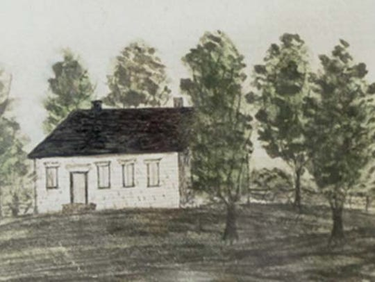 A drawing of the first Upper Path Valley Presbyterian