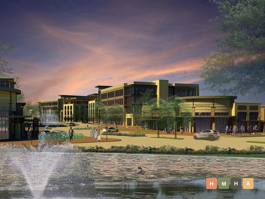 A rendering of Fountains at the Gateway.  Phase one