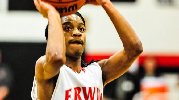 Erwin basketball player C.J. Thompson. The Warriors