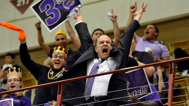 Western Caroluna University Chancellor David Belcher rallys students at the start of the WCU game against Wofford for the Southern Conference Tournament championship in 2014