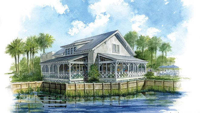 The Overlook Bar & Grill at The Isles of Collier Preserve was inspired by Old Florida waterside bars.
