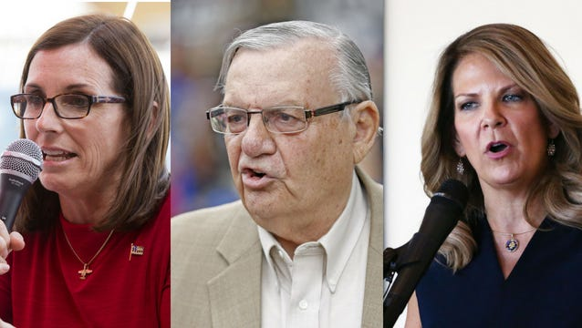 Republican candidates for U.S. Senate (from left) Martha McSally, Joe Arpaio and Kelli Ward.