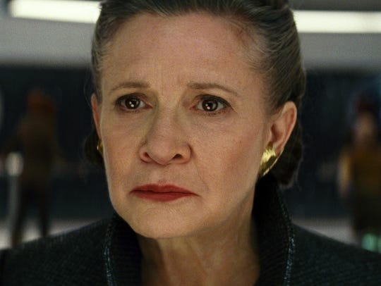 "Carrie Fisher, shown as General Leia in ""Star Wars: The Last Jedi,"" died on Dec. 27, 2016, nearly a year before the movie was released."