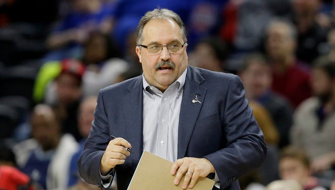 In this March 26, 2016 file photo, Detroit Pistons head coach Stan Van Gundy watches from the sidelines during the second half of an NBA basketball game against the Atlanta Hawks in Auburn Hills, Mich.