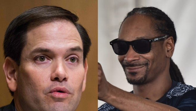 """Florida Sen. Marco Rubio, left, slammed Snoop Dogg's faux-assassination of a fake Donald Trump, cautioning that if the """"wrong person sees that and gets the wrong idea, you could have a real problem."""""""