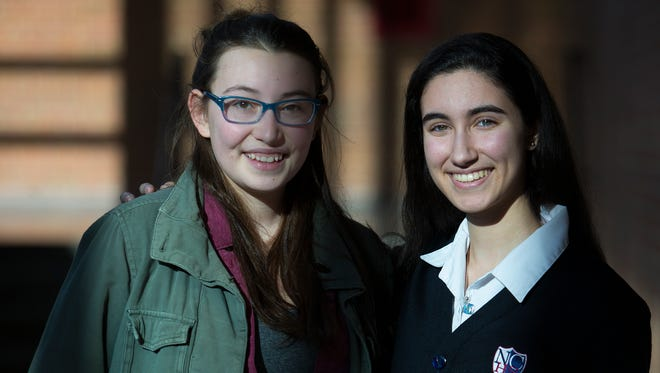Dickinson High School senior Sofia Rose, left, and Newark Charter senior Dounya Ramadan have worked with schools across the state to coordinate 17 minute walkouts to protest gun violence and memorialize the 17 students killed in the  Marjory Stoneman Douglas High School shooting.