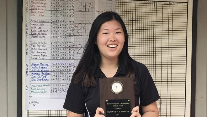 Clarkstown's Faith Lee poses with a plaque after winning the 2017 Rockland girls golf individual championship at the Phillip J. Rotella Memorial Golf Course in Theills on Tuesday, May 16th, 2017. She finished with a score of 42 in nine holes.