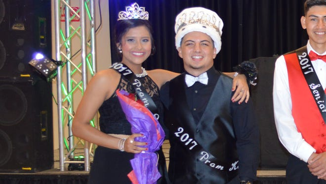 """Deming High School hosted the Junior/Senior Prom, """"Starry Night,"""" on Saturday, April 2, at the Mimbres Valley Special Events Center, 2300 E. Pine St. During the celebration, the DHS Prom Court was announced. From left are: Prom Queen and King, Yadira Macias and Cristian Sanchez; Senior Duke and Duchess, Alex Villa and  Alyssa """"Cheeks"""" Magaña Senior Prince and Princess, Cristian Metz and Bryssa Nieto; and Junior Princess and Prince, Valerie Lopez and Victor Zamora."""