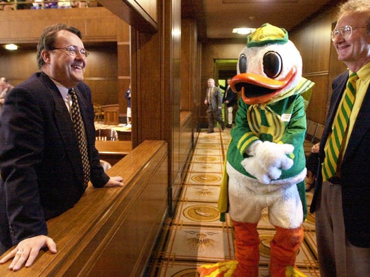 Sen. Rick Metsger greets University of Oregon president Dave Frohnmayer and the school's mascot at the Senate in this undated photo